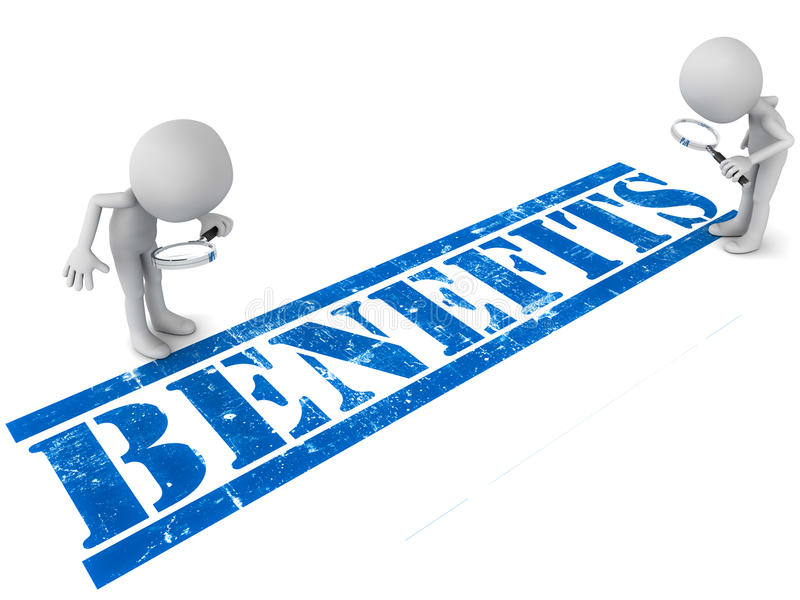 Benefits. Little men looking down to grunge stamped word benefits in blue color over white background, men looking in detail with magnifying glasses