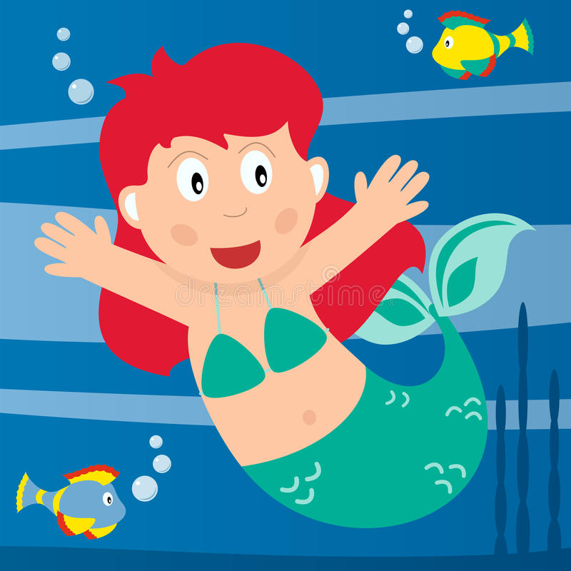 The Little Mermaid. Fairy tale scene: the Little Mermaid in the sea with fishes. Eps file available vector illustration