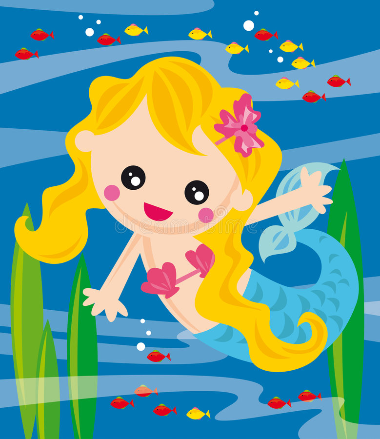 Little mermaid. Illustration of little sirena and fishes