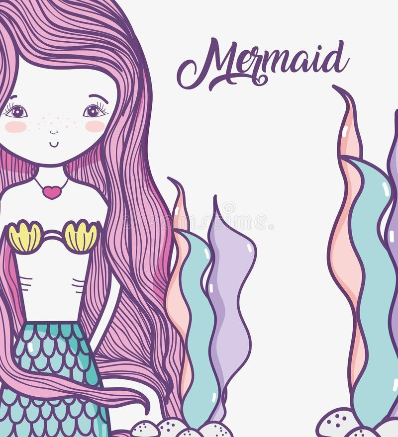 Little mermaid art cartoon. Icon vector illustration graphic design stock illustration