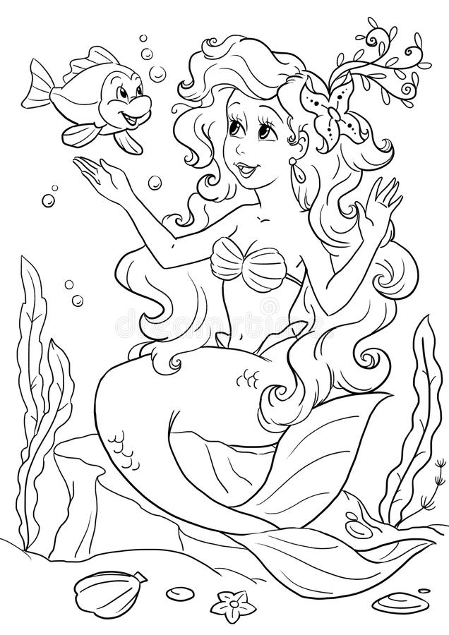 Little mermaid coloring. Coloring book page with a little mermaid sitting on a rock under the water stock illustration