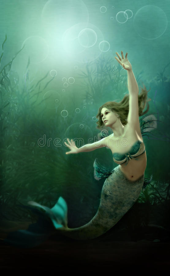 The little Mermaid. 3D computer graphics of a mermaid