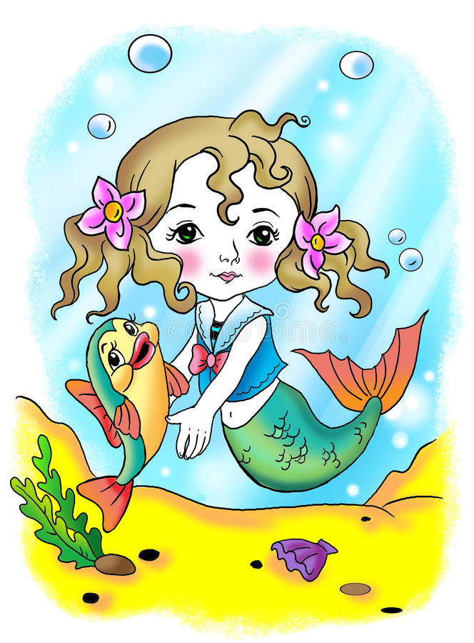 Download Little mermaid and fish stock illustration. Illustration of personage - 9463487