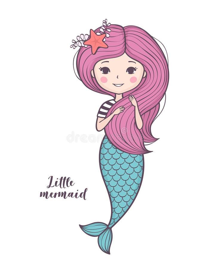 Little mermaid lindo Muchacha hermosa de la sirena de la historieta con el pelo rosado stock de ilustración
