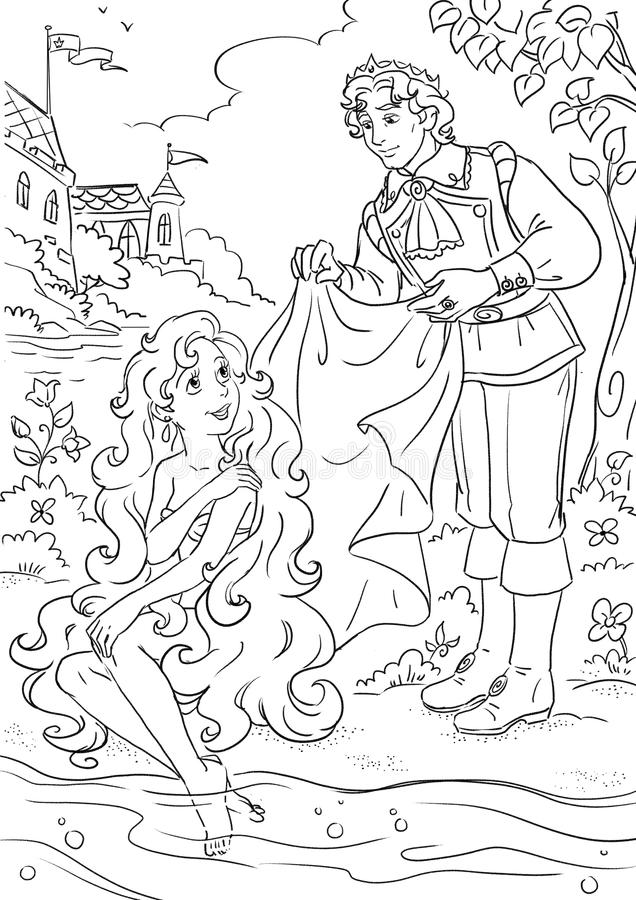 Little mermaid and prince. Coloring book page with Little Mermaid fairy tale scene vector illustration