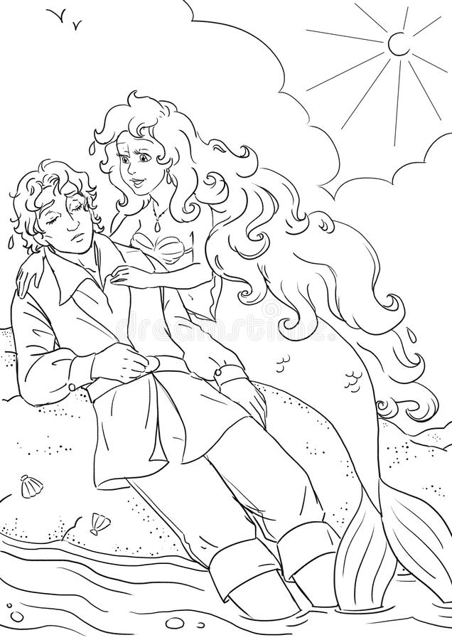 Little mermaid and prince. Coloring book page with Little Mermaid fairy tale scene stock illustration