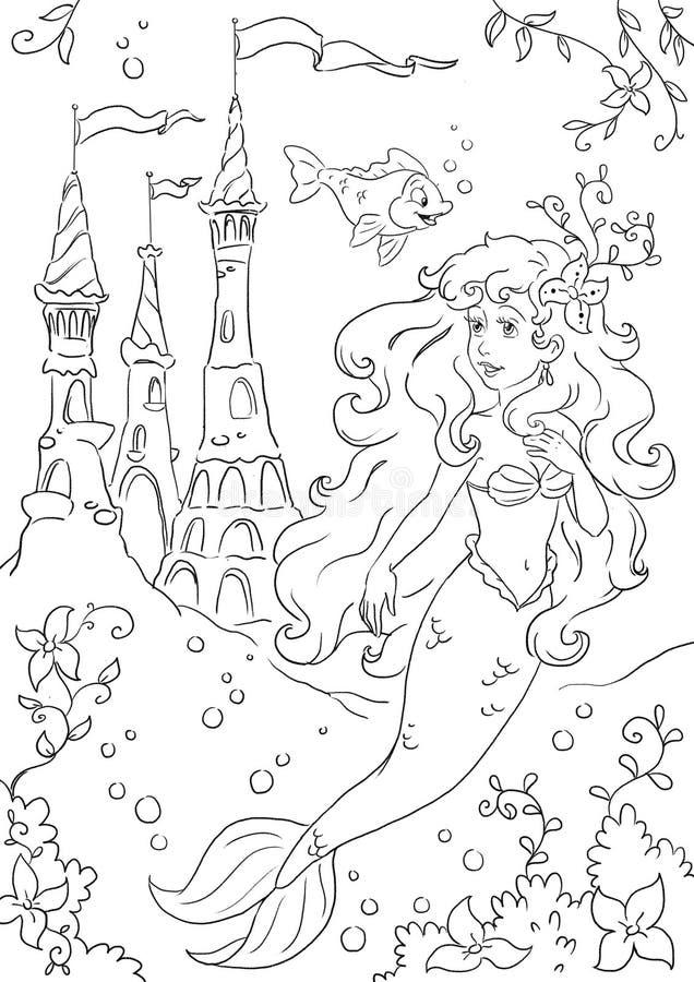 Little mermaid princess stock illustration illustration for Mermaid fairy princess coloring pages