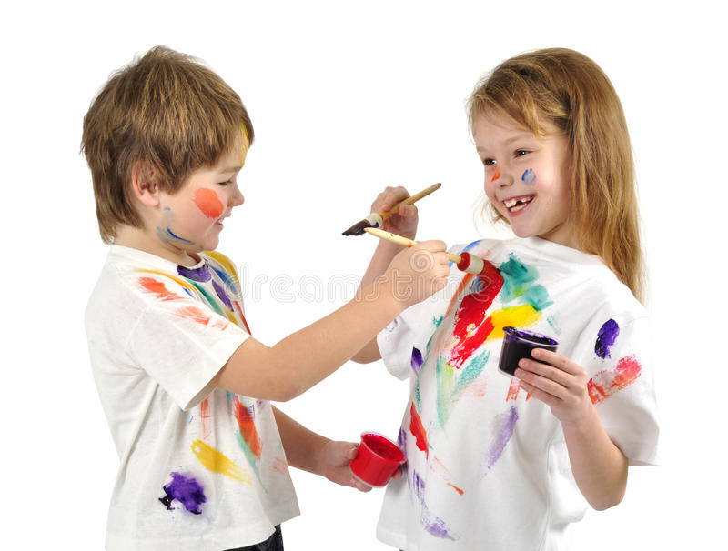 Download Little messy artists stock photo. Image of artistic, small - 13072152