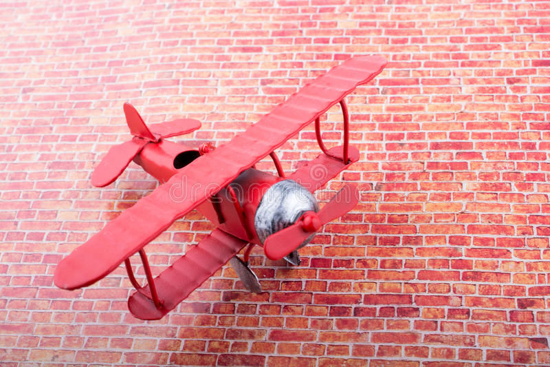 Little metal model airplane royalty free stock photo