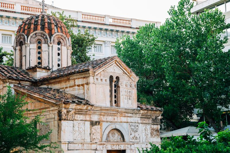 Little Metropolis church at Metropolitan Cathedral square in Athens, Greece. Little Metropolis church at Metropolitan Cathedral square, Athens, Greece royalty free stock images