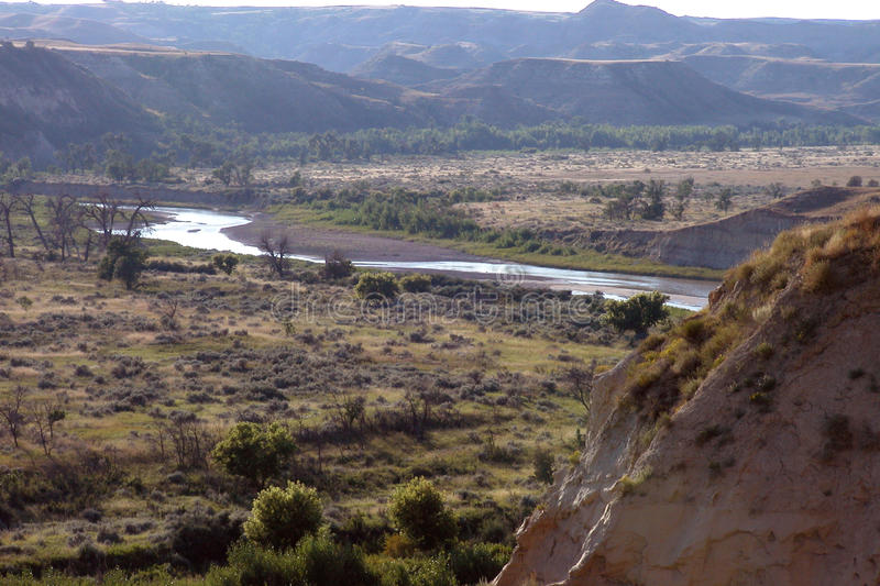 Little Missouri River. The Little Missouri River in the Theodore Roosevelt National Park, Medora, North Dakota stock photo