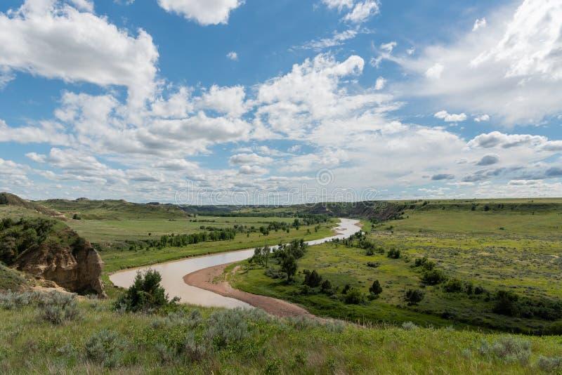 Little Missouri River Snakes Through Prairie stock photo
