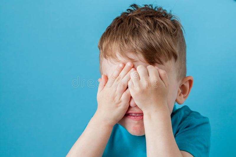 Little mix rate boy making fun face in many emotions royalty free stock image