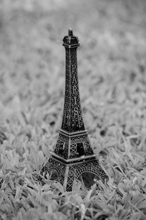 Little model of Eiffel tower. Little model of Eiffel tower with Black and White effect stock photography