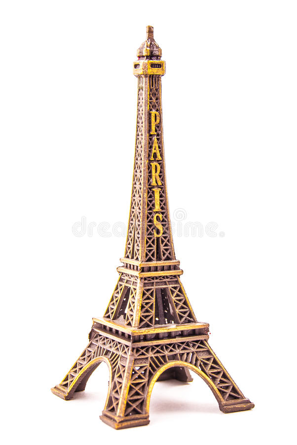 Little model of Eiffel Tower. Photo of little model of Eiffel Tower isolated on white. Image of travel in France and symbol of Paris royalty free stock photography