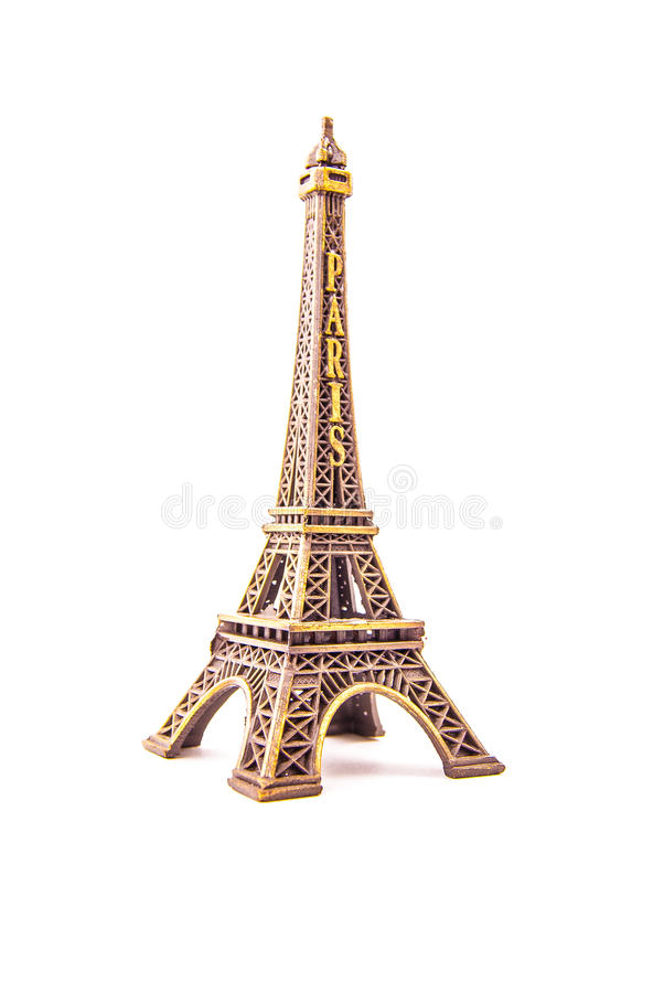 Little model of Eiffel Tower. Photo of little model of Eiffel Tower on white. Image of travel in France and symbol of Paris royalty free stock photography