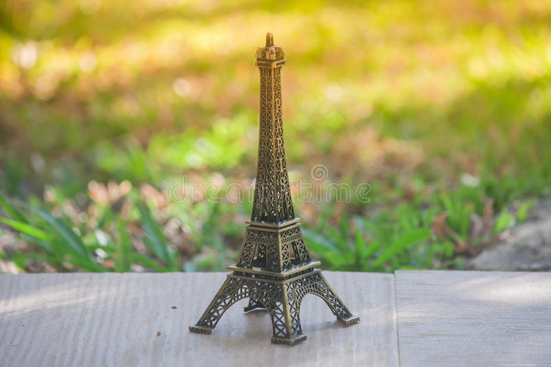 Little model of Eiffel tower. Little model of Eiffel tower with vintage effect stock images