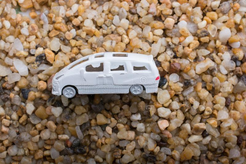 Little model toy car in view stock photo