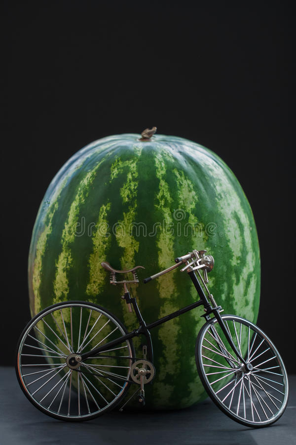 Little model vintage bicycle near big watermelon. Little model of a retro vintage bicycle near a big whole watermelon, vertical stock photo