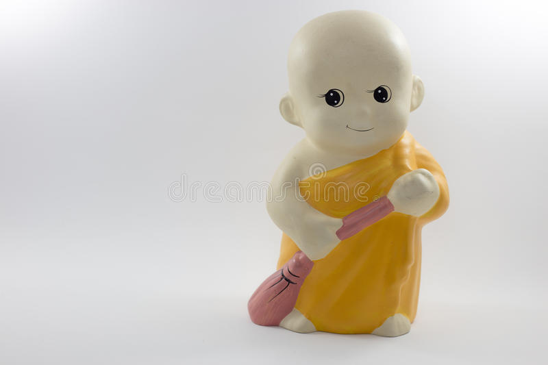Little monk model. On the white background stock photo