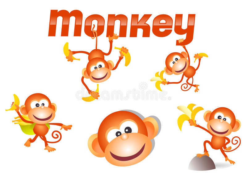 Download Little monkey character stock vector. Image of amusing - 26472878
