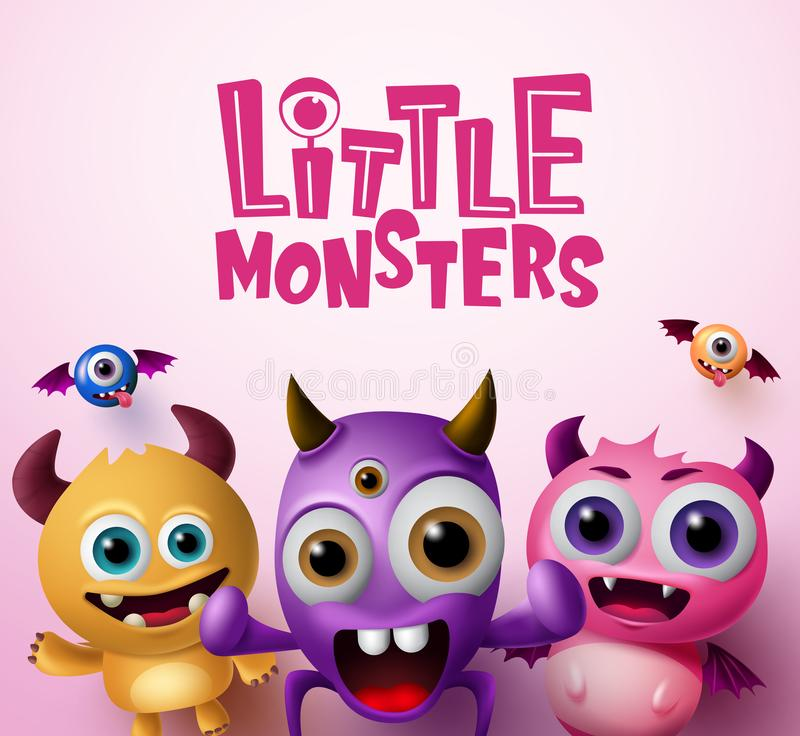 Little monster characters 3d realistic concept vector background design.  Little monsters text with empty space for messages. In pink background. Vector royalty free illustration