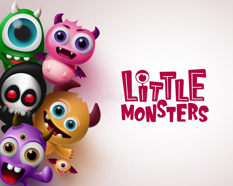 Little monster with 3d realistic character vector background template. Little monsters text with empty space for message. In white background. Vector royalty free illustration