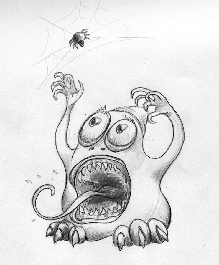 Download Little Monster And Scary Spider Stock Illustration - Image: 41527741