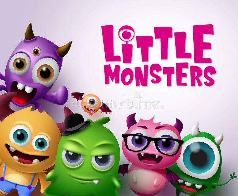 Little monsters vector characters background. Little monsters text with scary and funny monster creatures in white background. Vector illustration royalty free illustration