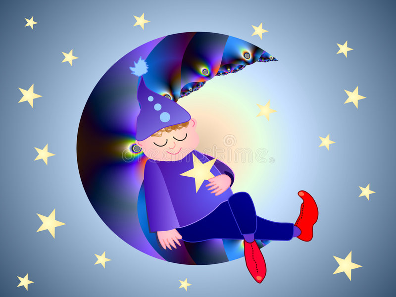 The little moon sleeper. The fractal moon has beautiful colors and details. Lots of stars are around. The little boy is created with a digital graphic program royalty free illustration