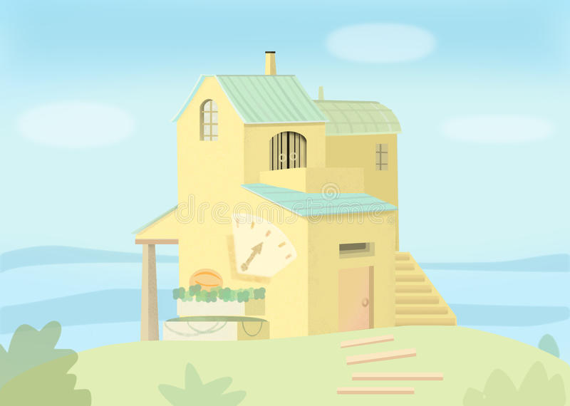 yellow house in the sunny country stock image