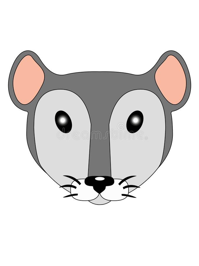 Little mouse. Cute little face little mouse. Rat head illustration for children. A pretty little gray and white colored rat. royalty free illustration
