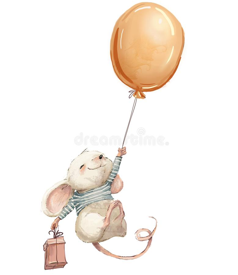 Little mouse fly with balloon. royalty free illustration