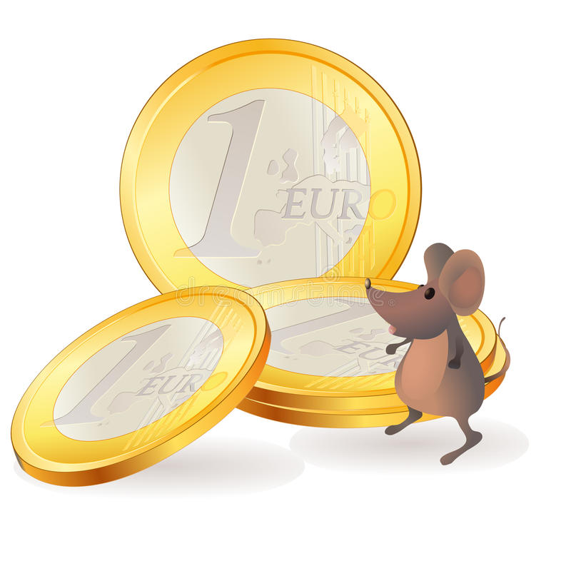 Download Little Mouse Near Euro Coins Stock Vector - Illustration of mouse, food: 26818408