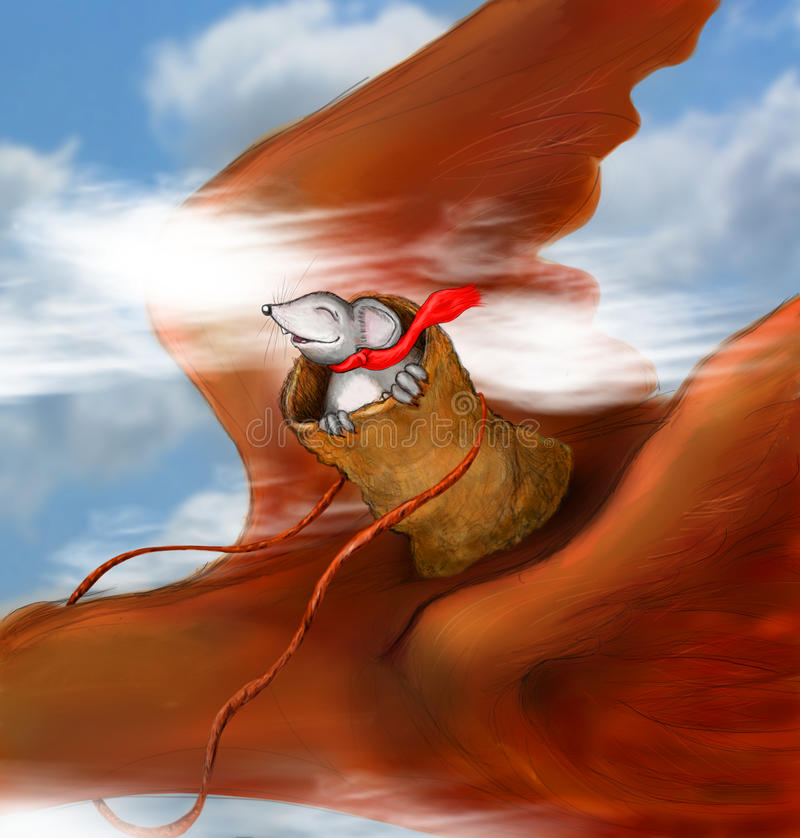 Little mouse riding bird. A small little mouse with a red scarf rides on the back of a bird as it flies through the sky. Concept for a great escape full of fun