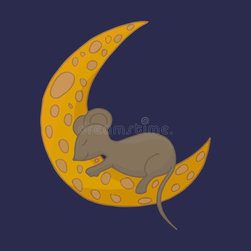 Little mouse is sleeping on the moon. Moon cheese. Fairy mouse on the moon. Sleep vector. stock image