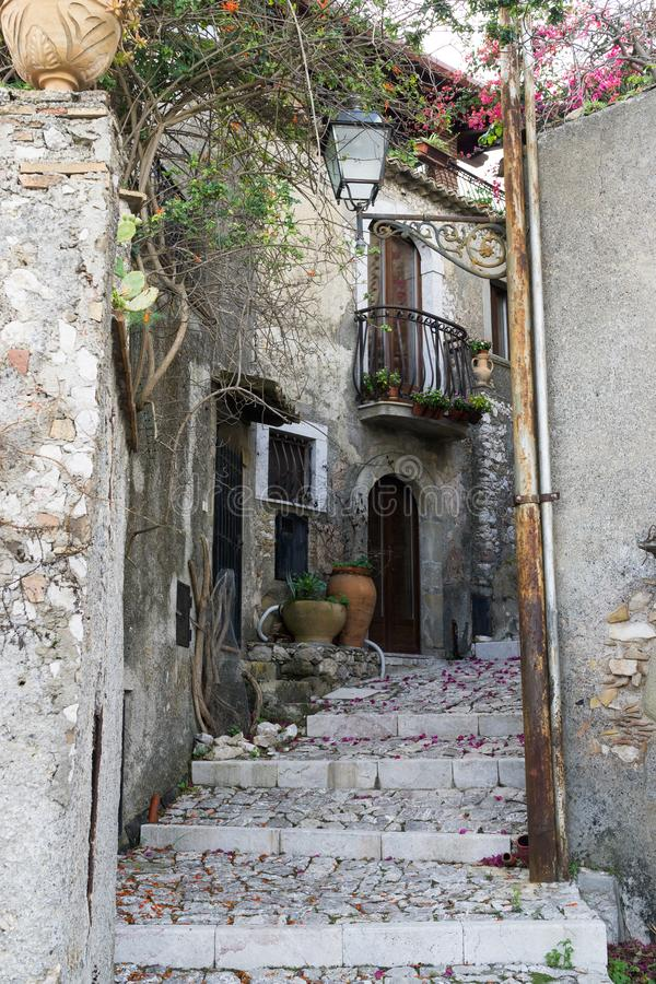 Little narrow street in a village on Sicily royalty free stock photos