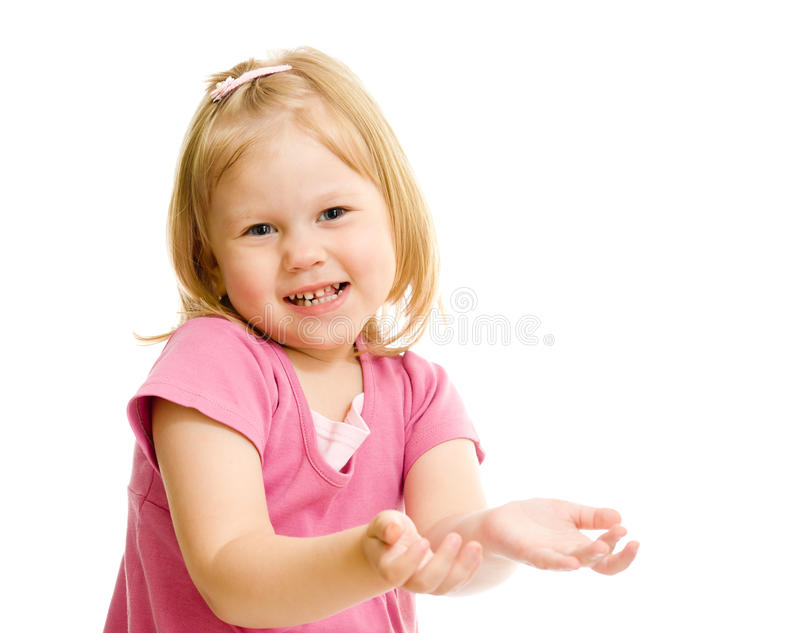 Little naughty girl portrait palms up isolated stock photos