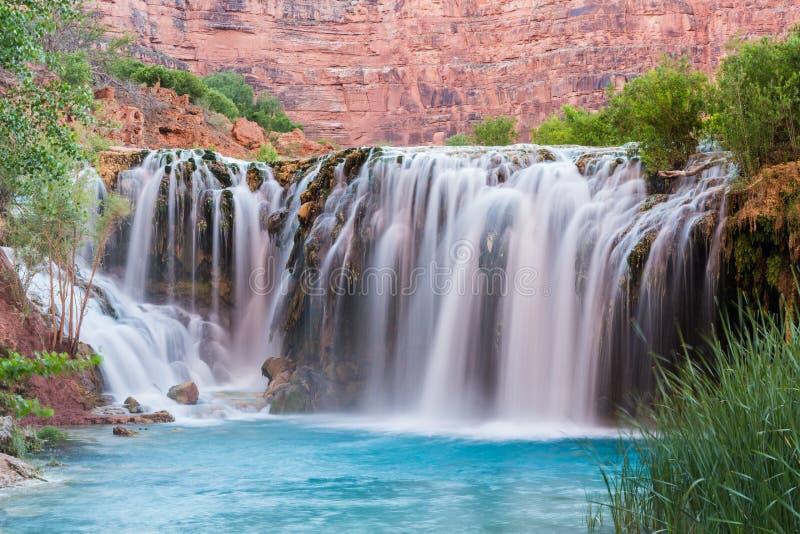 Little Navajo Falls on and Turquoise Havasu Creek stock photo