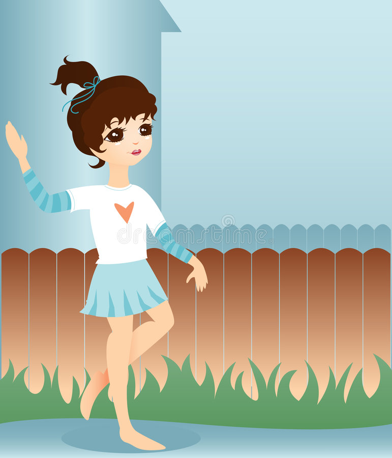 Download Little Neighbor Girl stock illustration. Illustration of skirt - 1200540