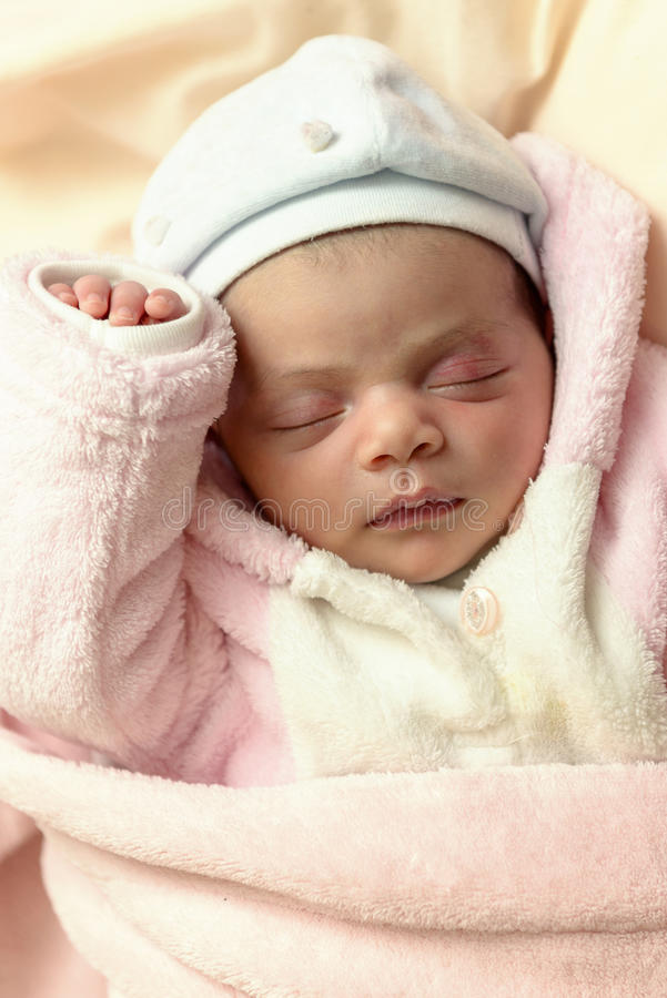 Little Newborn Baby Sleeping stock photos