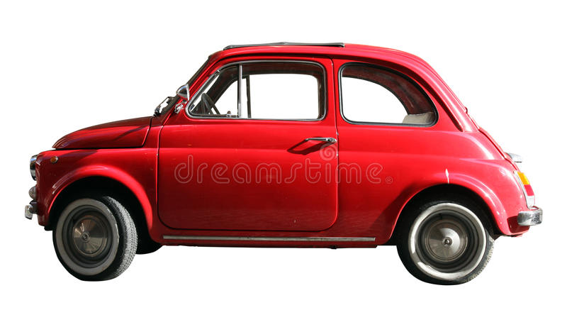 Little old vintage car. Italian industry. On white cropped royalty free stock image