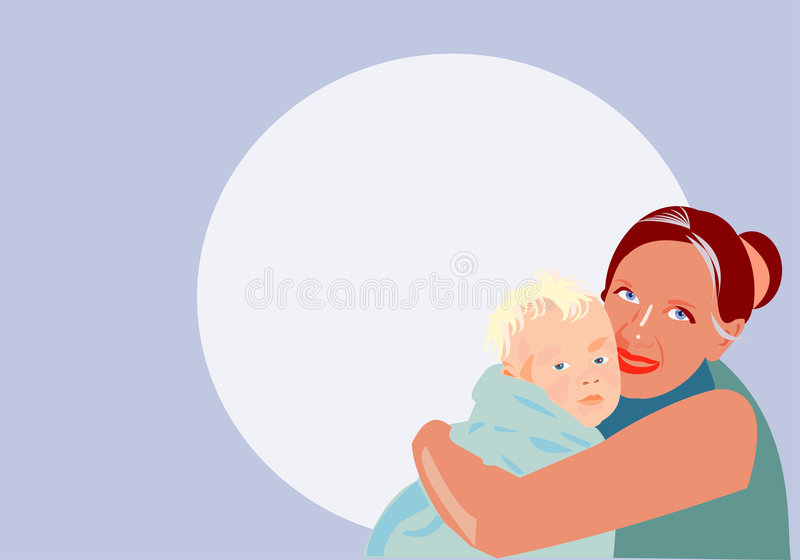 Little one. Vector image of little one and mom stock illustration