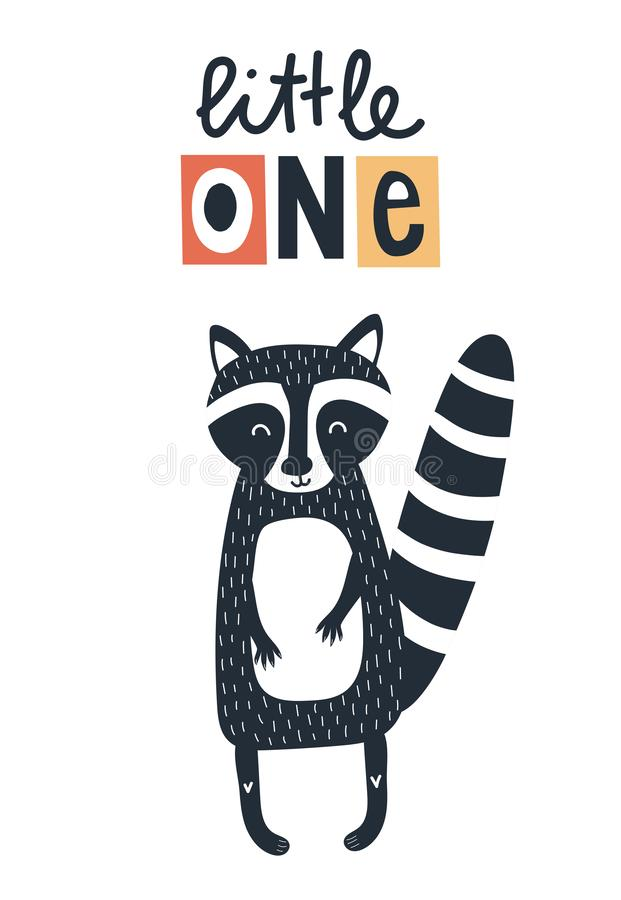 Free Little One - Cute Kids Hand Drawn Nursery Poster With Raccoon And Lettering On White Background. Stock Photo - 144818010
