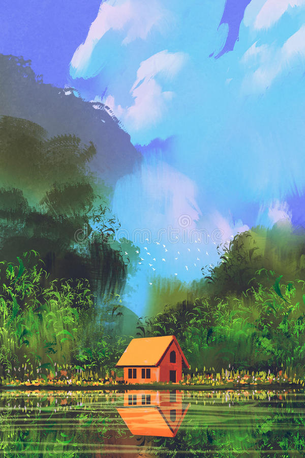 Little orange house in forest under the blue sky vector illustration