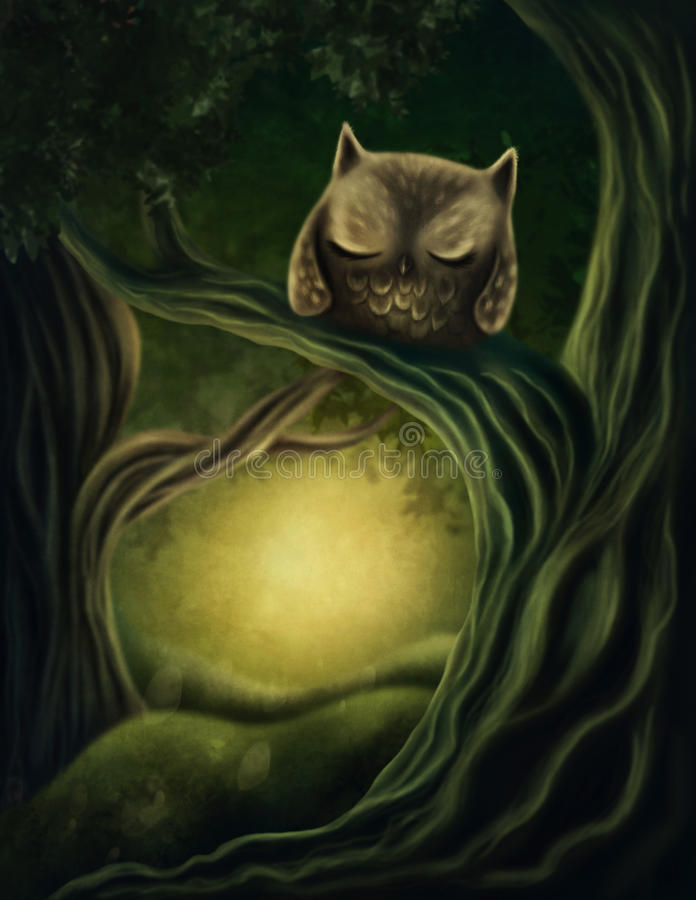 Little owl on a tree. In a deep forest royalty free illustration