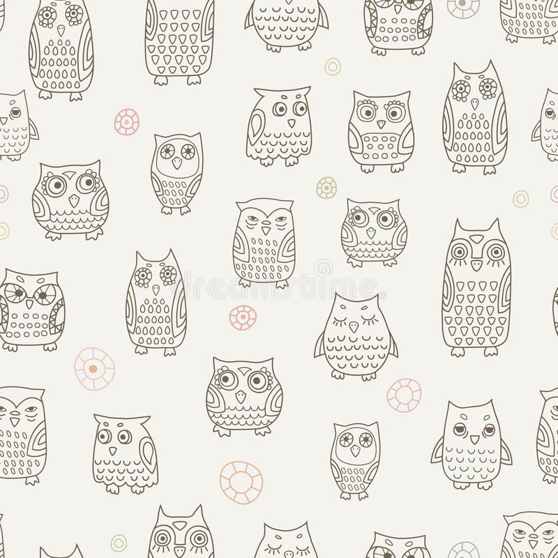 Little owls pattern vector illustration
