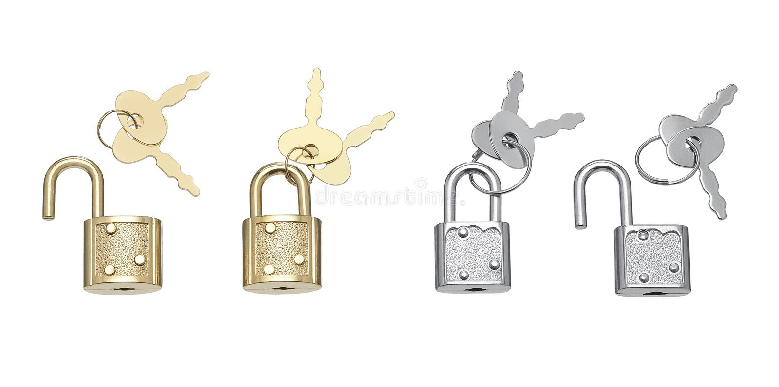 Little padlocks and keys in golden and silver color stock image