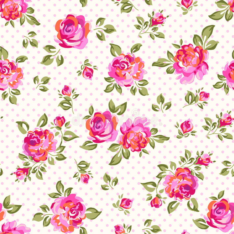 Little painted roses. Cute painted roses over dotty seamless background vector illustration
