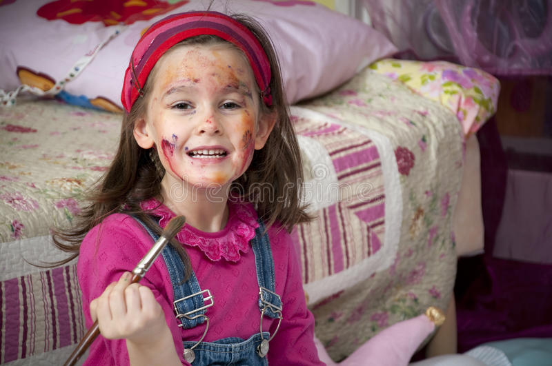 Download Little painter stock photo. Image of white, face, childhood - 18352680
